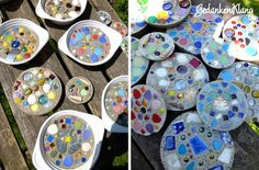 Concrete Mosaic 04 - All About Book Crafts, Diy And Crafts, Diy For Kids, Crafts For Kids, Mosaic Garden Art, Cement Garden, Japanese Garden Design, Concrete Crafts, Diy Garden Decor