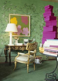 de Gournay: pattern Askew in full custom design colours of Emerald Green India Tea Paper.