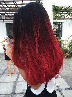Ombre Hair Dye, Red Balayage Hair, Dye Hair, Dyed Red Hair, Brown Ombre Hair, Black To Red Hair, Ombre Hair Color, Hair Highlights, Red Hair Colour
