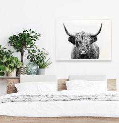 Highland Cow Print black and white photo farm animal large Highland Cow Print, Dining Room Art, Black White Art, Woodland Nursery Decor, Baby Prints, Farmhouse Decor, White Farmhouse, Modern Farmhouse, Printing Services