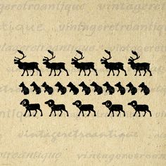Printable Digital Animals Pattern with Deer Bears and Rams Download Graphic Image Antique Clip Art Jpg Png Eps 18x18 HQ 300dpi No.848 @ vintageretroantique.etsy.com