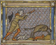 Manuscript detail: A Hunter Blowing His Horn and a Beaver, Franco-Flemish, about 1270, from www.getty.edu/