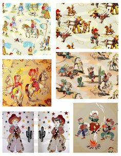I love a retro cowboy print! I've actually used the fabric on the top right. Western Crafts, Western Decor, Western Art, Retro Fabric, Vintage Fabrics, Fabric Art, Cowboy Bedroom, Fabulous Fabrics, Digital Collage