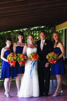 Choose flowers that contrast your bridesmaids' dresses to really make them pop!