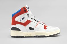PONY // 70713-FTR-101WhiterednavyM100 Sneaker Magazine, Sneakers Nike, Pony Sneakers, Vintage Designs, Navy And White, High Tops, Trainers, Air Jordans, Kicks