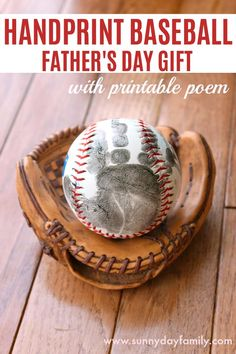 A sweet twist on a handprint Father's Day gift for baseball loving dads. Preserve your baby or toddler's handprint on a baseball for Dad. With free printable poem!