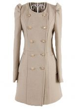 Apricot Puff Long Sleeve Buttons Pockets Coat $53.23