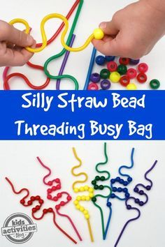 This Silly Straw Bead Threading Busy Bag is sure to keep preschoolers busy. This Silly Straw Bead Threading Busy Bag is sure to keep preschoolers busy. Quiet Time Activities, Motor Skills Activities, Gross Motor Skills, Sensory Activities, Toddler Activities, Fine Motor Preschool Activities, Physical Activities, Preschool Learning Centers, Sensory Tubs