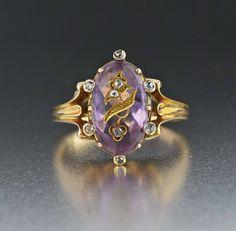 Antique Rose of Sharon Diamond Amethyst 18K Gold Ring  #Gold #Antique #Victorian #Amethyst #18K #Ring #Rose #Diamond #Agate #Forget