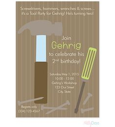 Boy Tool Party Invitation