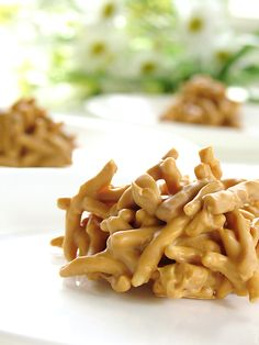 """Easy to make """"No bake"""" Haystack Cookies.1 (12 oz.) pkg. butterscotch or chocolate chips  1 (12 oz.) jar peanut butter 1 (9 oz.) can chow mein noodles. Put chips in saucepan. Stir over low heat until melted. Add peanut butter to chips & remove from heat. Stir well. Mix in the chow mein noodles. Drop by teaspoons onto waxed paper. Let the """"haystacks"""" harden for 1 hour."""