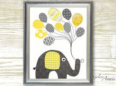 Yellow and Gray Nursery art prints - baby nursery decor - nursery wall - elephant nursery - Balloon - I Believe I Can Fly
