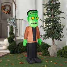Inflatable Airblown Green Monster Outdoor Yard Halloween Decoration Scary Party #Gemmy