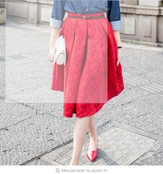 93fe0701406 EXOTAO Retro High Waist Skirt Women Elegant Female Jacquard Mini Pleated Skirts  Knee-Length Saias A-line Red Jupe