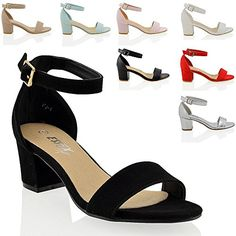 Essex Glam Mid Low Heel Ankle Strap Synthetic Strappy Sandals -- Check out the image by visiting the link. (This is an Amazon affiliate link)