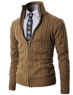 H2H Mens Casual Knitted Cardigan Zip-up with Twisted Pattern - US L (Asia XL) - Kmocal017-beige at Amazon Men's Clothing store: