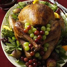 Cranberry-Orange Roasted Turkey Recipe from Taste of Home -- You'll have an elegant centerpiece to your meal with this tender, juicy turkey. -- Submitted by Kara de la Vega - Santa Rosa, California Thanksgiving Casserole, Thanksgiving Recipes, Fall Recipes, Holiday Recipes, Thanksgiving Table, Thanksgiving Celebration, Simply Recipes, Holiday Meals, Diabetic Breakfast Recipes