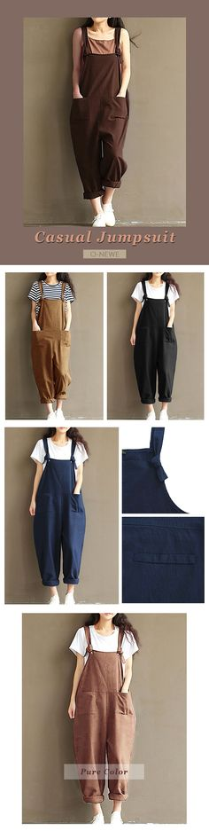 O-NEWE Casual Strap Pockets Jumpsuit Romper Trousers Overalls For Women