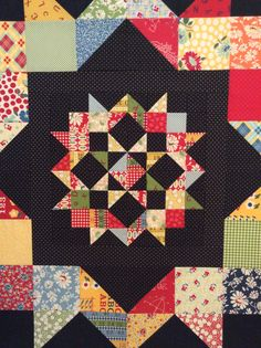 Round 2 Center- lovely job using the free moda love pattern, made here by Jennifer from Seams Crazy Big Block Quilts, Cute Quilts, Star Quilts, Scrappy Quilts, Quilt Blocks, Star Blocks, Star Quilt Patterns, Tree Quilt, Quilt Tutorials
