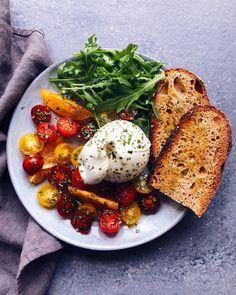 heirloom tomatoes + burrata di bufala + arugula + toasted sourdough bread + basil + olive oil