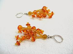 Honey Amber Earrings Genuine Baltic Amber and seed by SanaGem