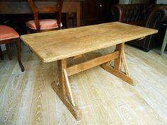 Tavolo da cucina o da appoggio, realizzato in abete antico e patinato al naturale