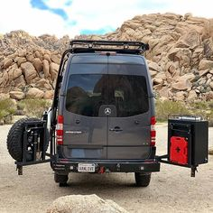 Lots of VanLove going on here! Sprinter van with Aluminess roof rack and rear bumper with swingout arms for tire and box storage! Sprinter Van Conversion, Camper Van Conversion Diy, Travel Trailer Camping, Van Camping, Mercedes Camper, Suzuki Cafe Racer, Transit Camper, 4x4 Van, Van Home