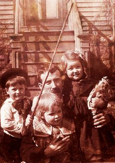 Grandfather Tom Griffin, Nephews Oswald and Jim and Niece Kitty, Fall River, Massachusetts, about 1904 by JFGryphon, via Flickr