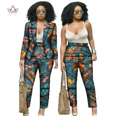 African Clothes for Women Dashiki African Print Clothing 2 Piece Set For Women Pant and Bazin Riche African Batik clothes Both African Dresses For Women, African Attire, African Wear, African Fashion Dresses, African Women, African Print Pants, African Print Clothing, African Print Fashion, African Clothes