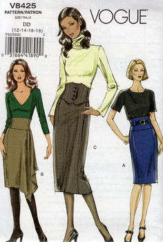 Vogue 8425 Sewing Pattern Free Us Ship High Waist Zipper Skirt Size 12 14 16 18 Waist 26.5-32 Brand New Out of Print 2007 Great Price! by LanetzLiving on Etsy