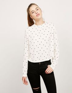 Bershka Croatia - BSK collar top with gathered cuffs