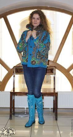 Купить Куртка синель Царевна лягушка - куртка женская, русский стиль, павловопосадский платок, синель