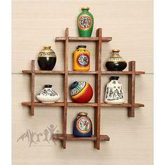 8 Hand Painted Warli Miniature Pots With Sheesham .