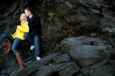 Yellow coat, dark background, adorable couple.
