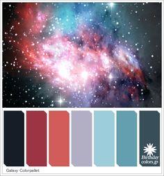 銀河・宇宙・星雲のカラーパレット「Galaxy Colorpallet Hues and Tones」For inspiration, art and design. Color match was made by nature. All color scheme are made those, who love colors. More color pallets on Birthdaycolors