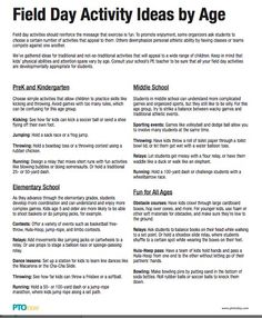 Field Day Activity Ideas by Age, from the PTO Today File Exchange