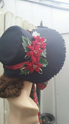 Black Twill Christmas Caroling Bonnet by Victorian Hats, Victorian Costume, Victorian Christmas, Historical Costume, Historical Clothing, Steampunk Accessoires, Bonnet Hat, Old Fashioned Christmas, Period Costumes