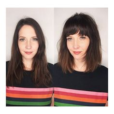 Bob with strong/ soft bangs. Hair cut by Jayne at Edo 🌟 How To Curl Short Hair, Short Hair With Bangs, Cute Hairstyles For Short Hair, Short Hair Cuts, Short Hair Styles, Perfect Hairstyle, Layered Hairstyles, Chunky Bangs, Soft Bangs