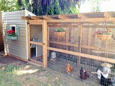 - the hanging flower baskets on the rafters – astonishing cool , coop decorations , chicken coop , to chicken coop , chicken coop Walk In Chicken Coop, Diy Chicken Coop Plans, Chicken Coup, Chicken Garden, Backyard Chicken Coops, Building A Chicken Coop, Chicken Runs, Backyard Farming, Chickens Backyard
