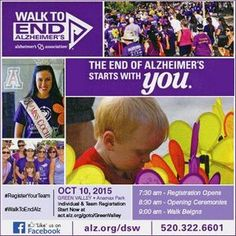 Join us on a Walk to End Alzheimer's. Team and individual registration starts now at act.alz.org/goto/GreenValley. Form your teams or meet up with all of those who are fighting to end Alzheimers on October 10th. ‪#‎RegisterYourTeam‬ ‪#‎WalkToEndAlz‬ ‪#‎GreenValleySahuaritaCommunityWalk‬
