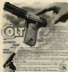 Vintage Sports Advertisements of the 32 Acp, Colt 1911, Survival Weapons, Patent Drawing, Old Advertisements, Old Ads, Print Advertising, Guns And Ammo, Vintage Ads