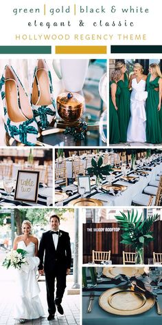 Green, gold, black & white wedding colors at this elegant & classically themed Hollywood Regency themed wedding in Austin, Texas. Fall Wedding Makeup, Gold Wedding Theme, Fall Wedding Colors, Wedding Color Schemes, Green Wedding, Maui Weddings, Hawaii Wedding, Gold Weddings, Eucalyptus Wedding