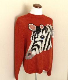 Vintage Hipster Zebra 3 D Sweater Rust Medium $35.00