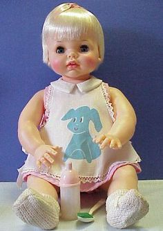 """1965 """"Real Live Lucy"""" doll.  She would drink from her bottle & eat food from a spoon"""