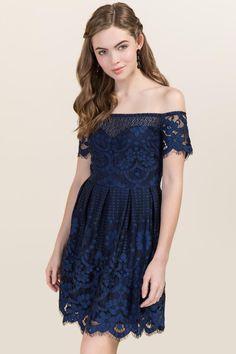 Livia Floral Lace A-line Dress- Navy