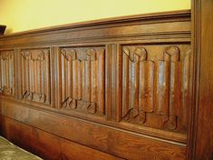 Linenfold Panels | Carved Panels | Moulded Muntins | Tudor Style Panels | Richly Carved Gothic Elements, Stair Landing, A Discovery Of Witches, Antique Beds, Panel Moulding, Tudor Style, Wainscoting, Panel Doors, Dollhouse Miniatures