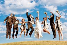 love this jumping wedding party pic!