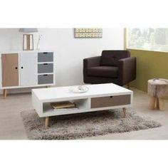 Table Basse CRACOVIE Table basse 2 tiroirs L120cm pin/MDF