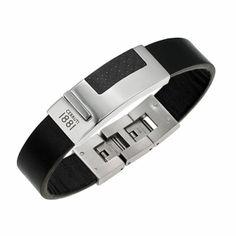 Men leather Urbano Casual black bracelets - Cerruti 1881 Trendy Bracelets, Black Bracelets, Bracelets For Men, Men's Jewelry, Men's Accessories, Leather Men, Casual, Men Accessories, Urban