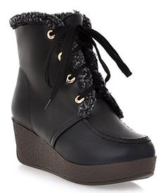 6c3f9d31201 IDIFU Womens Warm Fully Fleece Lined Mid Wedge Heels Platform Lace Up Ankle  High Snow Boots Booties Black 55 BM US -- You can get additional details at  the ...